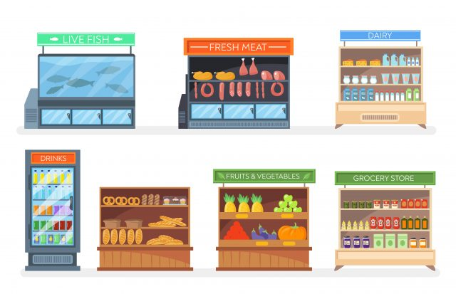Set of racks and refrigerators with food. Cartoon vector illustration. Grocery, pastry, dairy, fish, meat, fruit, vegetable racks with shelves of products, drinks. Market, mall, shopping, food concept